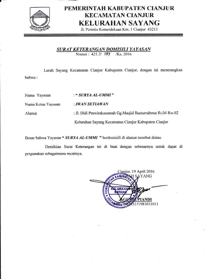 Legalitas Yayasan Al Ummi Yayasan Cianjur